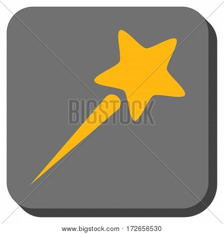 Flying Star toolbar icon. Vector pictograph style is a flat symbol inside a rounded square button yellow and gray colors.