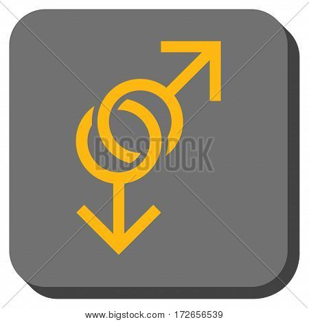 Gay Love Symbol rounded icon. Vector pictogram style is a flat symbol centered in a rounded square button yellow and gray colors.