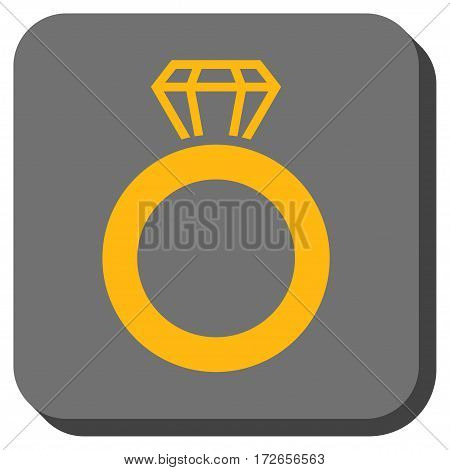 Gem Ring interface icon. Vector pictogram style is a flat symbol centered in a rounded square button yellow and gray colors.