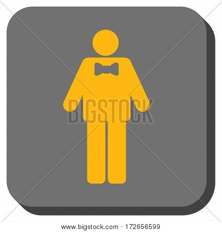 Groom interface button. Vector pictogram style is a flat symbol centered in a rounded square button yellow and gray colors.