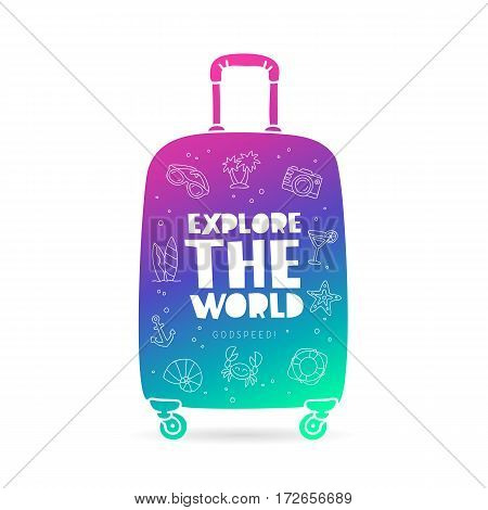 Suitcase with the inscription - Explore the world Godspeed and summer icons. Trend lettering. Vector illustration on white background.