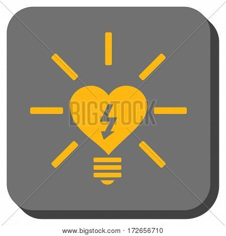 Heart Electric Bulb toolbar icon. Vector pictograph style is a flat symbol in a rounded square button yellow and gray colors.