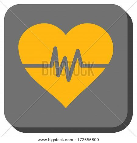 Heart Pulse interface button. Vector pictograph style is a flat symbol on a rounded square button yellow and gray colors.