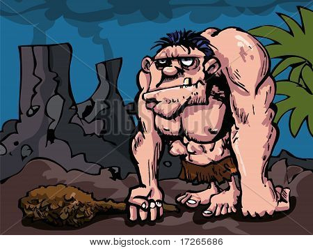 Caveman With Big Club In Prehistoric Setting