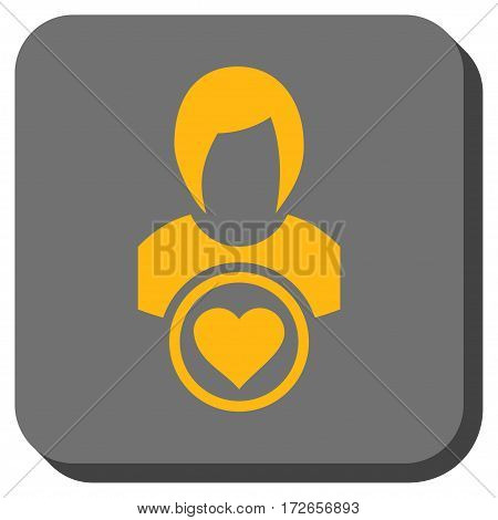 Lady Love square button. Vector pictograph style is a flat symbol in a rounded square button yellow and gray colors.