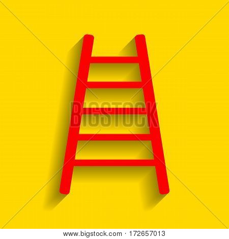 Ladder sign illustration. Vector. Red icon with soft shadow on golden background.