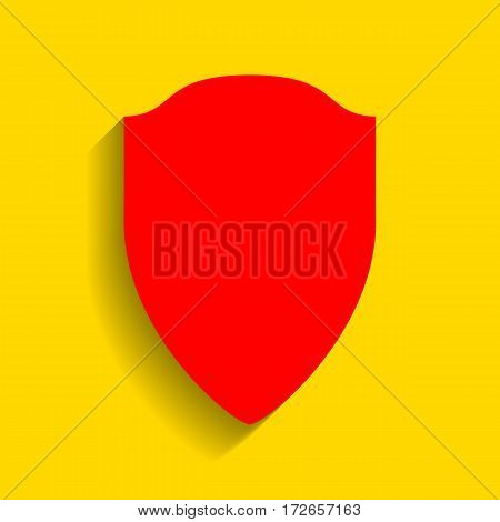 Shield sign illustration. Vector. Red icon with soft shadow on golden background.