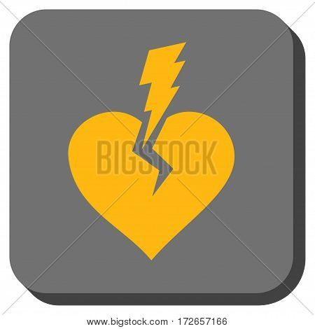 Love Heart Crash rounded button. Vector pictogram style is a flat symbol in a rounded square button yellow and gray colors.