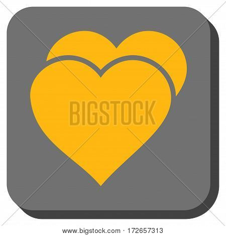 Love Hearts interface toolbar button. Vector pictograph style is a flat symbol in a rounded square button yellow and gray colors.