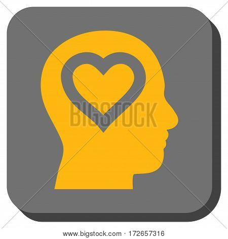 Love In Head interface toolbar icon. Vector pictogram style is a flat symbol inside a rounded square button yellow and gray colors.