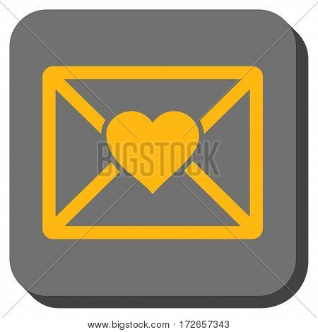 Love Letter square button. Vector pictograph style is a flat symbol on a rounded square button yellow and gray colors.