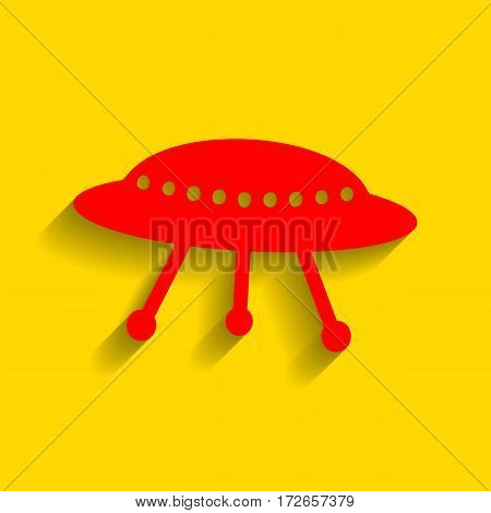 UFO simple sign. Vector. Red icon with soft shadow on golden background.