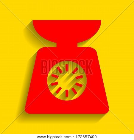Kitchen scales sign. Vector. Red icon with soft shadow on golden background.
