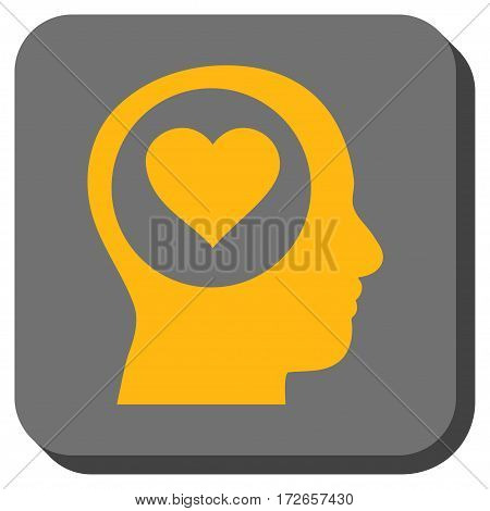 Love Thinking Head interface toolbar icon. Vector pictograph style is a flat symbol in a rounded square button yellow and gray colors.