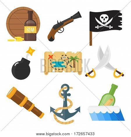 Golden age pirate adventures toy accessories pictograms treasures icons children party game set. Abstract vector sword gun sign weapon collection.