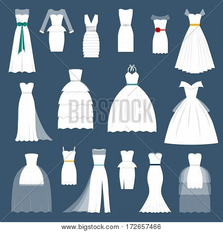 Wedding bride dress elegant style celebration vector illustration. Fashion bride design made in modern accessories silhouette. Holiday vector bridal shower composition.