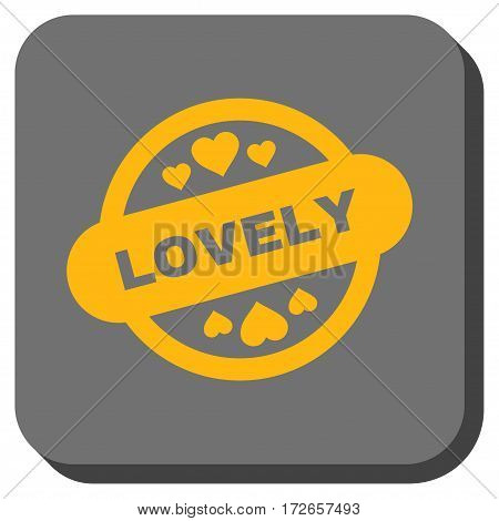 Lovely Stamp Seal square icon. Vector pictogram style is a flat symbol on a rounded square button yellow and gray colors.