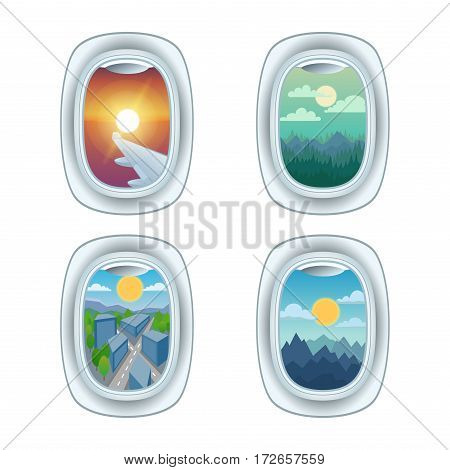 Airplane window with different view. Looking flying high frame holiday vacation. Commercial airline clouds clean travel cloudscape porthole.