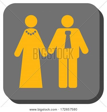 Newlyweds interface toolbar button. Vector pictograph style is a flat symbol in a rounded square button, yellow and gray colors.