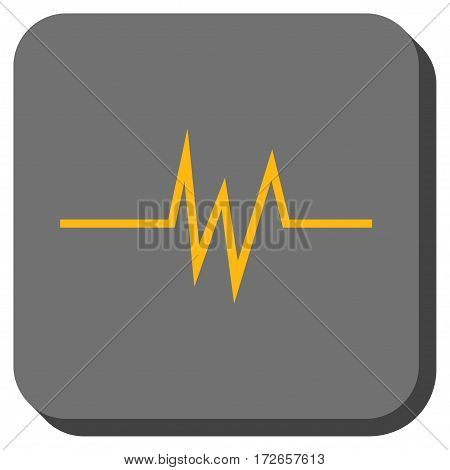 Pulse Signal interface toolbar icon. Vector pictograph style is a flat symbol centered in a rounded square button, yellow and gray colors.