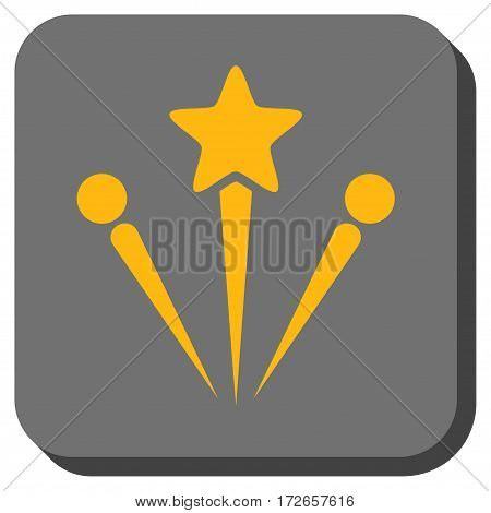 Salute Fireworks interface button. Vector pictogram style is a flat symbol in a rounded square button, yellow and gray colors.