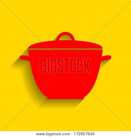 Saucepan simple sign. Vector. Red icon with soft shadow on golden background.