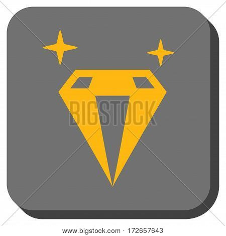 Sparkle Diamond Crystal rounded button. Vector pictograph style is a flat symbol inside a rounded square button, yellow and gray colors.