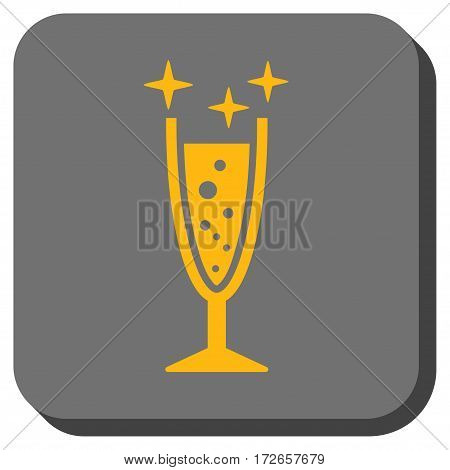 Sparkle Wine Glass interface button. Vector pictogram style is a flat symbol centered in a rounded square button, yellow and gray colors.