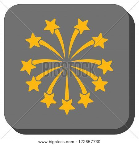 Spherical Fireworks rounded button. Vector pictograph style is a flat symbol in a rounded square button, yellow and gray colors.