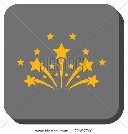 Star Fireworks interface toolbar icon. Vector pictogram style is a flat symbol on a rounded square button, yellow and gray colors.