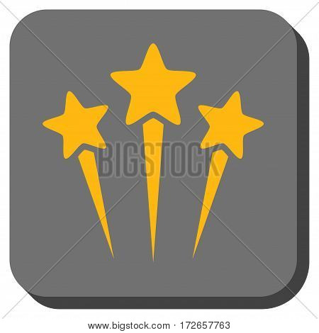 Star Salute toolbar icon. Vector pictogram style is a flat symbol in a rounded square button, yellow and gray colors.