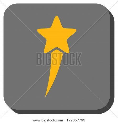 Starting Star interface toolbar button. Vector pictograph style is a flat symbol inside a rounded square button, yellow and gray colors.