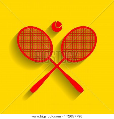 Tennis racket sign. Vector. Red icon with soft shadow on golden background.