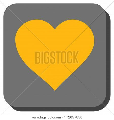Valentine Heart toolbar icon. Vector pictogram style is a flat symbol centered in a rounded square button, yellow and gray colors.