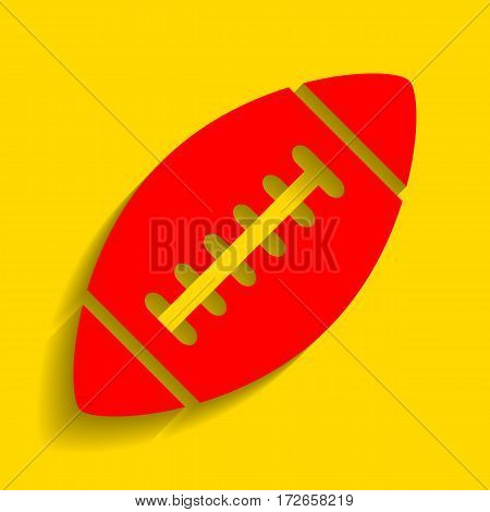 American simple football ball. Vector. Red icon with soft shadow on golden background.
