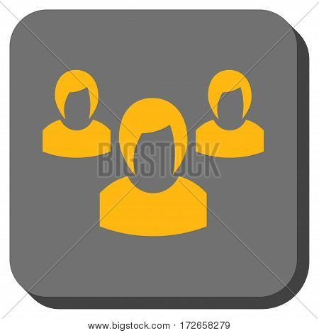 Woman Group interface toolbar button. Vector pictograph style is a flat symbol centered in a rounded square button, yellow and gray colors.