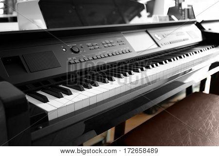 Piano in music shop