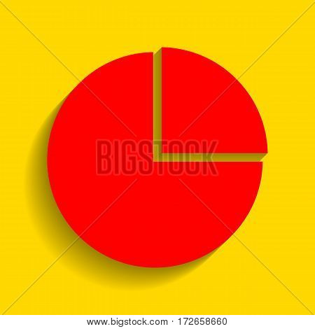 Business graph sign. Vector. Red icon with soft shadow on golden background.