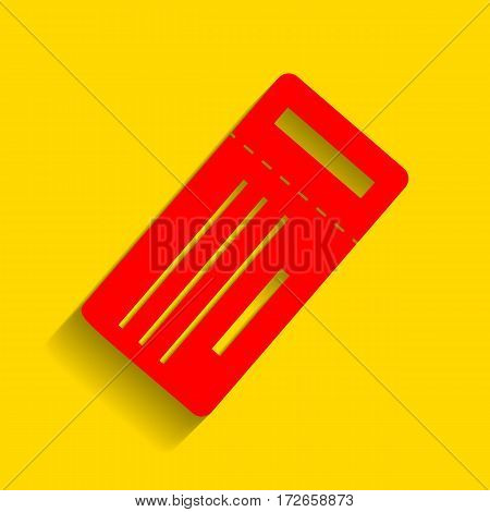 Ticket simple sign. Vector. Red icon with soft shadow on golden background.
