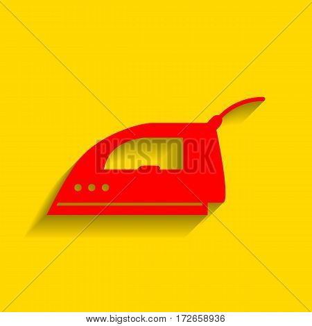 Smoothing Iron sign. Vector. Red icon with soft shadow on golden background.