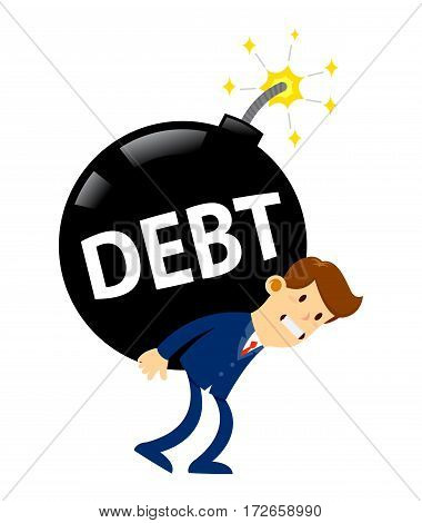 Vector stock of a businessman carrying huge debt bomb on his back