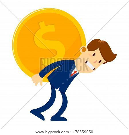 Vector stock of a businessman carrying huge gold coin on his back
