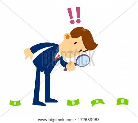 Vector stock of a businessman looking through magnifier glass inspecting money trace