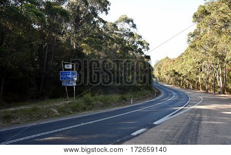 Princes Hwy Australia - Jan 6 2017. Welcome to Victoria. At the border between New South Wales and Victoria.