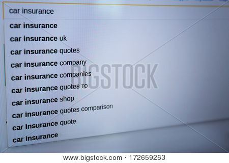 Web searching of car insurance information