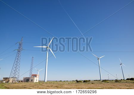 Windmills and electrical substation, Zaragoza province, Aragon, Spain.