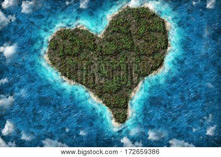 Heart love island on the sea