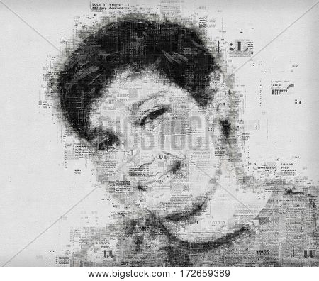 Artistic portrait of a child blended with old newspaper pages background
