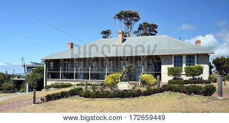 Eden Australia - Jan 6 2017. The Crown & Anchor Inn is a unique hotel steeped in the history of long gone whalers and sea-faring days. The Inn was the earliest substantial building in Eden.