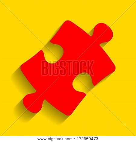 Puzzle piece sign. Vector. Red icon with soft shadow on golden background.